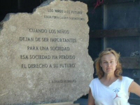 The Honduran Travertine marble block with inscription by L. Ron Hubbard