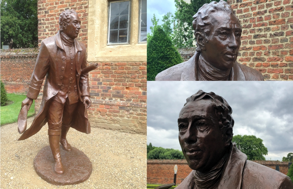 Lifesize bronze sculpture / statue of Lancelot Capability Brown by sculptor Laury Dizengremel