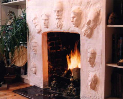 Fireplace Faces an original, custom design fireplace with faceslaury dizengremel