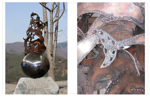 Dolphins Dancing - a sculpture reated in copper and stainless steel by Laury for the city of Ulsan, South Korea, click for more details