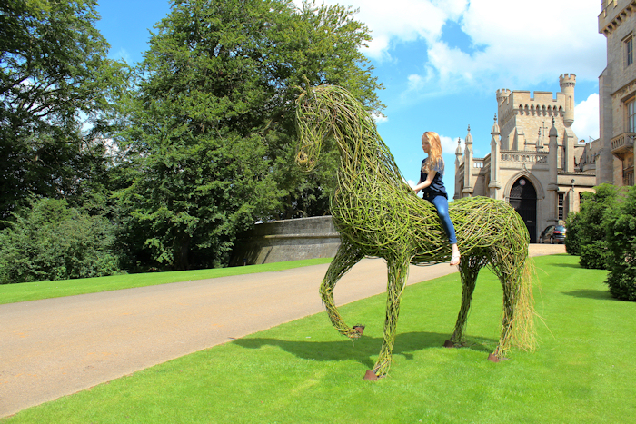 This willow horse sculpture by Laury Dizengremel was created in July 2012 and is shown here below Belvoir Castle